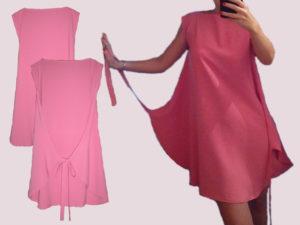 Розовое платье необычного кроя
