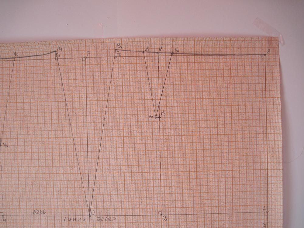Строим вытачку переднего полотнища