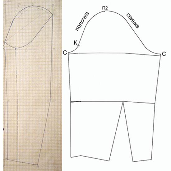 Выкройка-основа рукава для платья/блузки