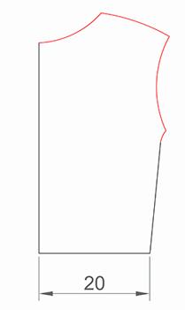 Выкройка верха спинки без припусков
