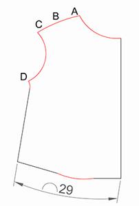 Выкройка верха полочки без припусков