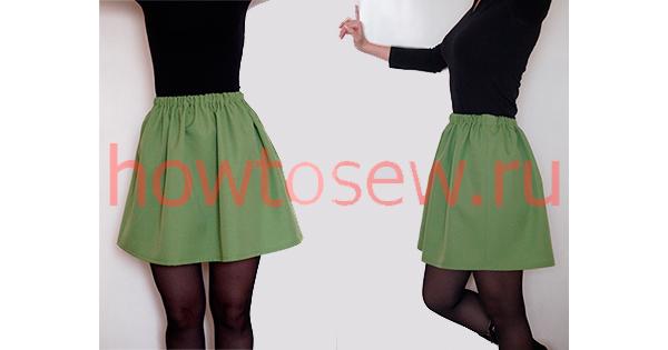 Зеленая юбка на резинке из габардина