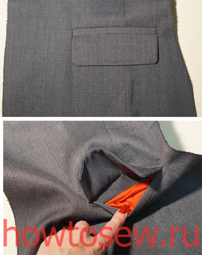 Прорезной карман в рамке с клапаном