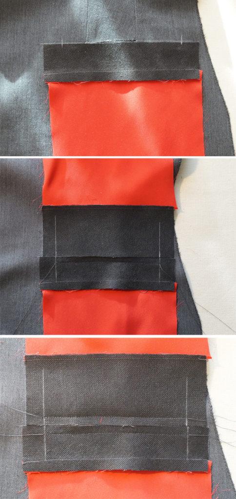Притачиваем обтачки с мешковинами к полочке