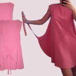 Шьем без выкройки розовое платье необычного кроя