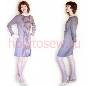 Платье с потайной молнией переходящей в разрез