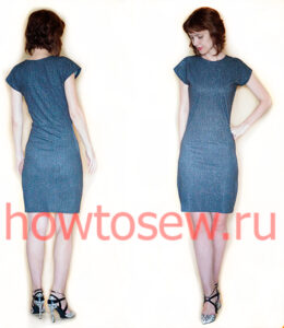 Облегающее платье с цельнокроеным рукавом