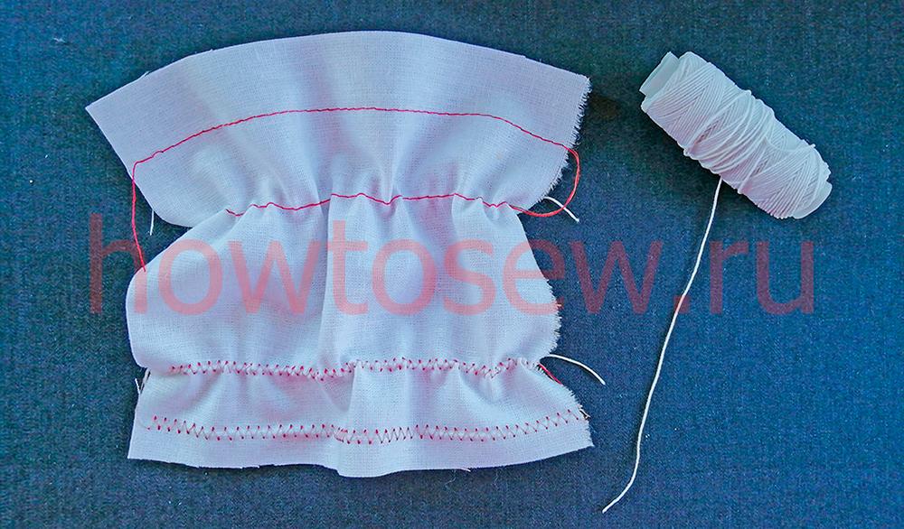 Сборки на ткани с помощью нитки-резинки