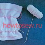 Эластичная сборка ткани ниткой-резинкой