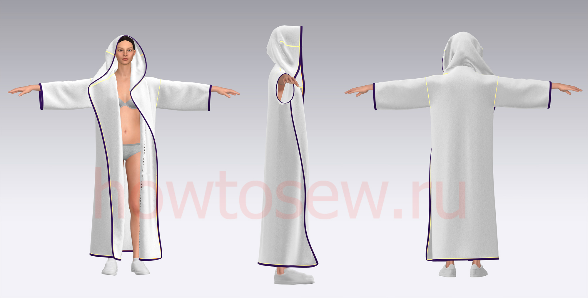 Шьем халат с капюшоном по простой выкройке