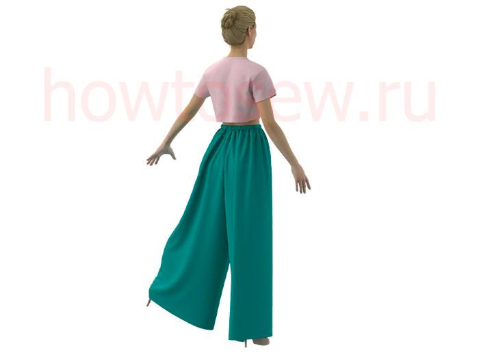 Широкие женские брюки на резинке без боковых швов по своим меркам
