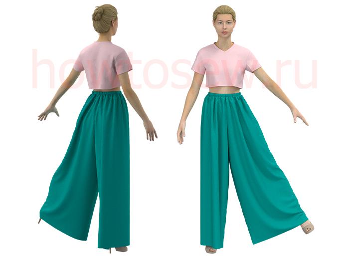 Широкие прямые брюки на резинке
