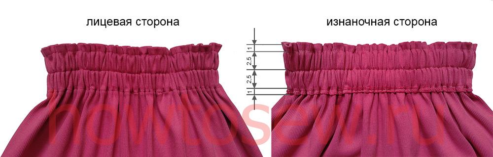 Широкий пояс юбки с двумя резинками в готовом виде
