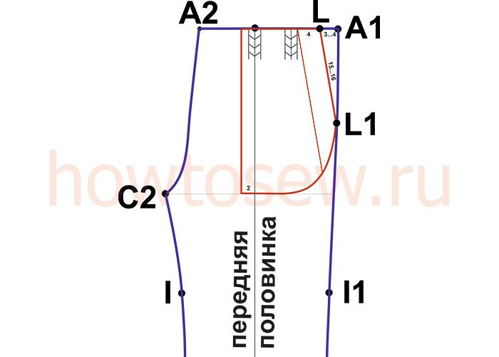 Выкройка переднего кармана мужских классических брюк