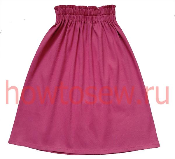 Прямая юбка из кашкорсе на широком поясе с резинками без вертикальных швов