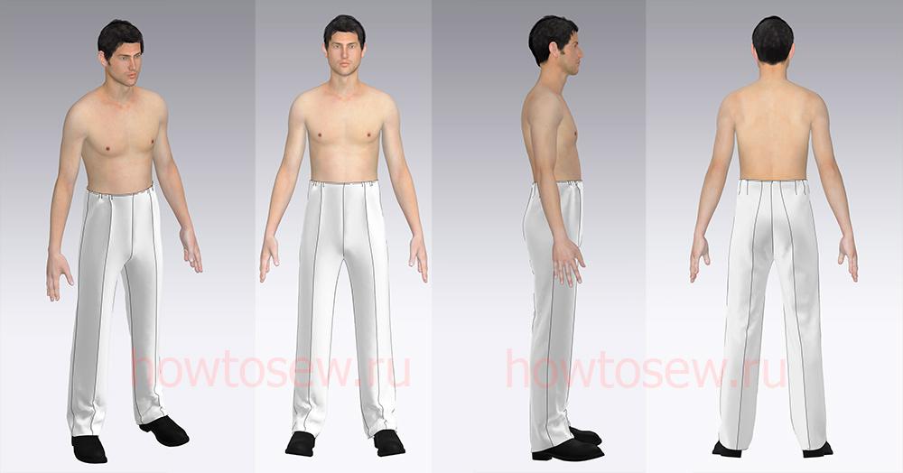 Примерка выкройки мужских брюк