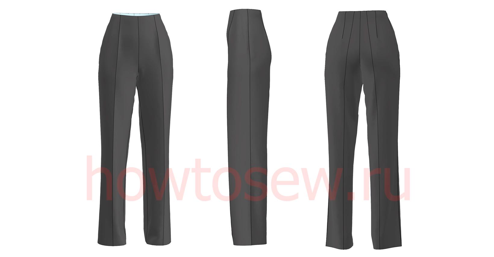 Классические черные прямые женские брюки