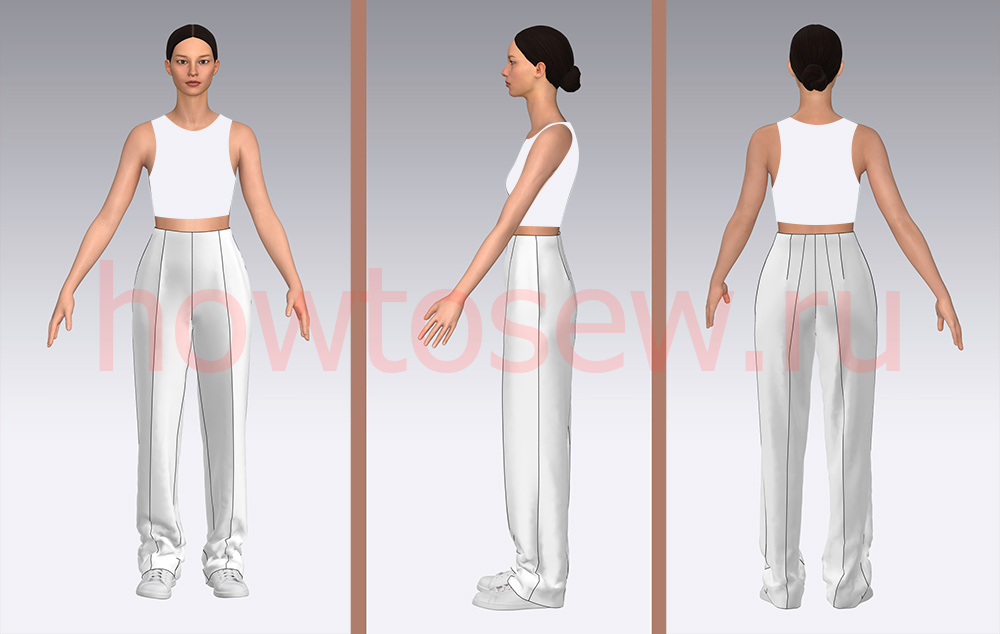 Примерка классических женских брюк с кроссовками